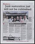 Junk restoration just will not be rubbished. The News, Tuesday 7th Oct 2008