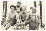 Boleh Crew on arrival at Salcombe, 1950 weary yet triumphant!