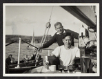 Robin and Chang on Arrival, Salcombe, 1950