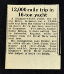 12,00-mile Trip in 16-ton Yacht<br /><br />